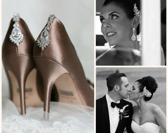 Stunning Crystal Chandelier Earrings, Cubic Zirconia Earrings, Bridal Earrings, Vintage Style - FIONA