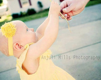 Yellow  Shabby Flower Headband Infant Flower  Headband Newborn Flower Headband  Shabby Chic Flower Headband  Photo Prop Baby Shower