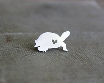 Turtle pin, sterling silver turtle, turtle silhouette, hand made, rustic, nature, wild