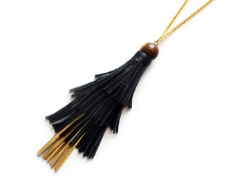 Leather Tassel Necklace, Wood Beaded Necklace, Black and Gold Fringe Layer Necklace, Minimal Jewelry