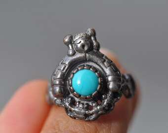 Southwestern sleeping beauty turquoise mother earth symbol sterling silver ring size 6