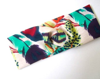 Twisted Turban headband Feather Print