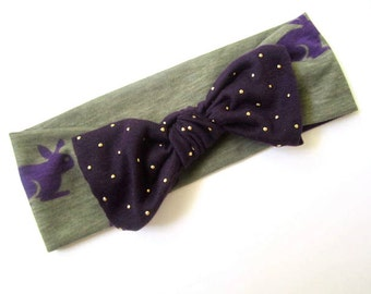 Bow turban headband Bunny print Purple Bow