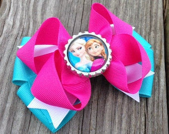 Frozen Hair Bow, Frozen Boutique Hair Bow, Elsa and Anna Hair Bow, Girls Frozen Hair Bow, Pink Elsa and Anna Bow, Girls Hair Accessories