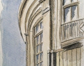 Historic Buffalo Building Watercolor Painting Print - Delaware Court downtown architecture