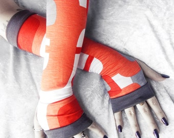 Retro Romp Arm Warmers - Orange Grey & White Geometric Mod Soft Modal - Yoga Gloves Gothic Belly Dance Fusion Light Goth Hipster Cycling