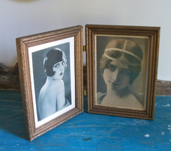 Lovely Vintage Hinged Frames Gold Painted Wood