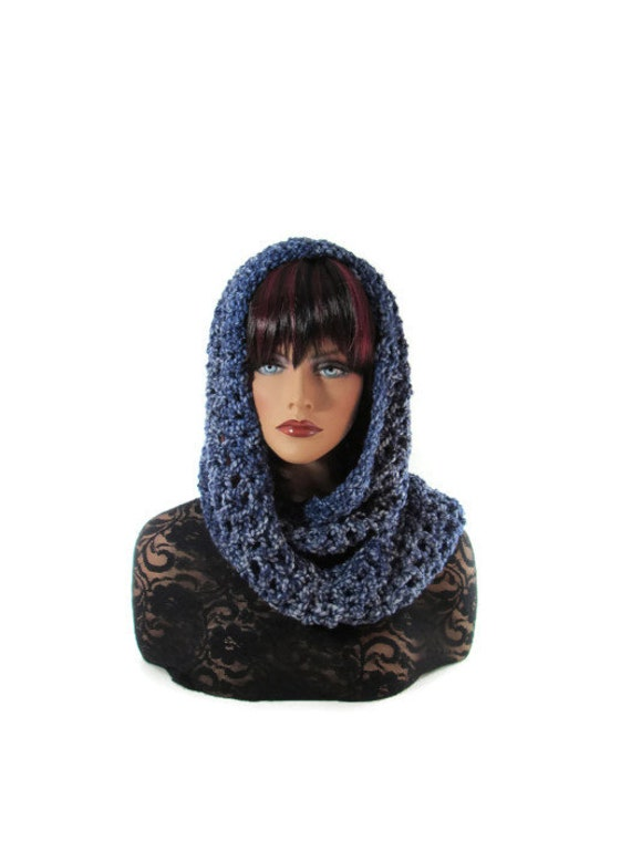 Blue Infinity, Neckwarmer, Mens, Womens, Hood Cowl, Blue Scarf, Denim Blue, Epais, Snood, Winter Accessories, Winter Fashion, Infinity
