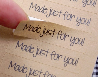MADE JUST FoR YOU labels -  Kraft Brown Made Just for You Stickers 1/2 x 1 3/4 inch kraft stickers