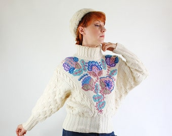 Womens Cable Knit Wool Sweater. Vintage  Cream Embroidered Sweater. FREE SHIPPING