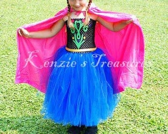 Anna Tutu Dress With Optional Hooded Princess Cape - Sizes 2T to Girls 6