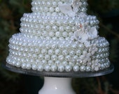 Celebration Cake- Table Decor- OOAK Custom- Wedding Birthdays Anniversaries Beaded Cake