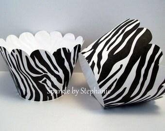 Zebra Print Cupcake Wrappers - Set of 12+ - Black & White Zebra Print