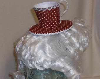 Teacup Fascinator- Red and White with Polka Dots
