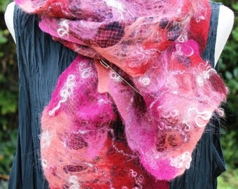 Nuno felted silk & wool scarf, pink red  - nunofilz, narrow felt scarf - ooak Fibre Fiber Art to Wear