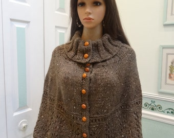 DESIGNER STYLE CAPE: Ladies, medium to large, Turtle Neck, Brown heather, hand knitted in a soft, worsted weight yarn with leather buttons