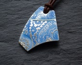 Reserved for Roostersmum - Enamel pendant in silver and blue enamel, patterns, leather cord