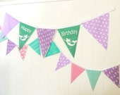 Happy Birthday Mermaid Anchor Fabric Banner, Nautical Bunting, 5 Extra Large Pennant Flag, Purple, Teal, Smash Cake Photo Shoot, Birthday