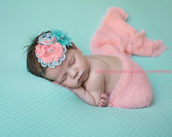 A Starboard is Born- coral, aqua and white triple rosette headband