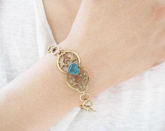 Antique Gold Filled Bracelet With Blue Glass Hearts c.1910
