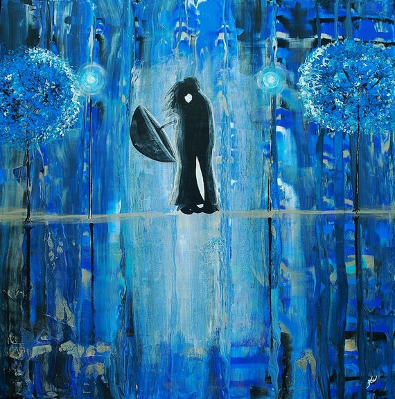 Fine Art Giclee Print of Original Painting Sapphire Rain Romance II Amber Elizabeth Lamoreaux Impasto Blue Rainy Street Couple Love