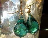 18k Gold Green Amethyst Earrings