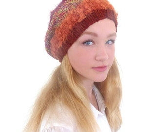 Earthy Knit Hat Brown Slouchy Hat Brown Beanie