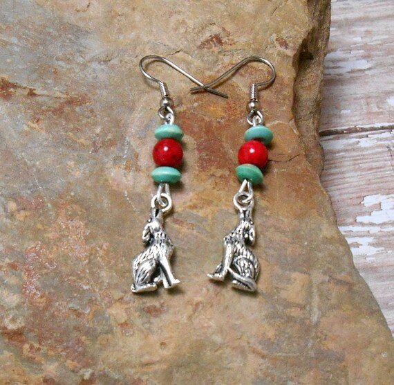 Howling Wolf Earrings With Red & Turquoise Beads - Wolf Totem- Wolf Earrings - Clearance
