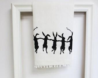 White Cotton Huck Tea Towel with Rabbit Hand Screen Print