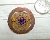 CUSTOM FOR BALL Cogs and Flowers Brooch Pin Copper Cogs and Gold Plated Flower Stampings Embellished with Volcano Swarovski Crystal
