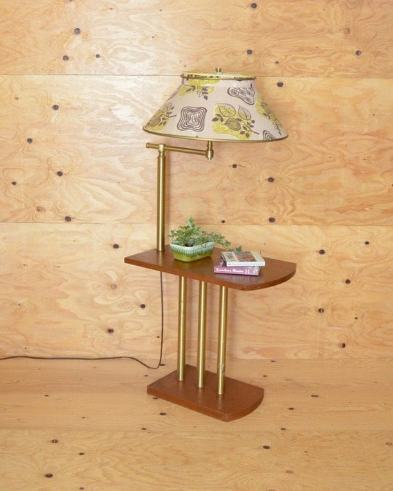 vintage art deco side table with built in lamp stunning fabric shade. Black Bedroom Furniture Sets. Home Design Ideas