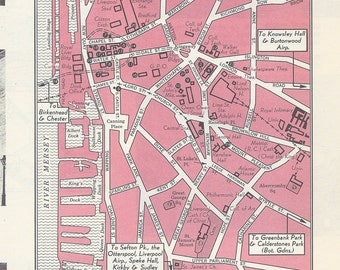 Liverpool England Map, City Map, Street Map, 1950s, Pink, Black and White, Retro Map Decor, City Street Grid, Historic Map
