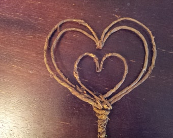 Rustic Cake Topper - Hearts Love Wedding natural autumn fall wire bark love tree winter blended family woodland