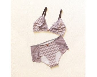 Day Dream Bra & Panties set in Amethyst and Grey Chevron with Lace Handmade to Order by Ohh Lulu