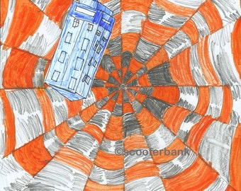 Wibbly Wobbly Timey Wimey Tardis Print Doctor Who Fan Art