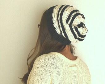 Crochet Beanie Pattern - Slouchy Beanie Pattern - Unisex - Beehive Toque Wide Band Winter Cap - PDF Pattern Baby Kids Adult