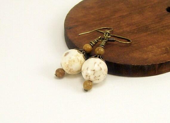 Gemstone Jewelry White Magnesite Earrings, Beaded Jewelry, Earth Tones Rustic Casual Dangle Earrings, For Her, Handmade