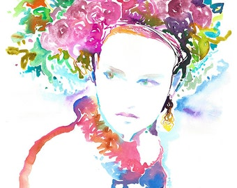 Watercolor Print, Print of Watercolor Fashion Illustration by Cate Parr. Titled: Jaune Spring