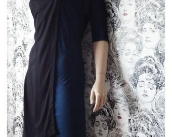 Vintage Colorblock Jersey Dress, Wool Tunic, Black Dress