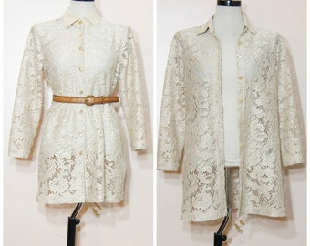 90s Beige Lace Shirt Dress Duster Sheer Small Medium Long Sleeves Boho