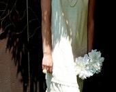 Tea Length Wedding Dress, OOAK, 1920's Style Wedding Dress, Alternative, Garden Wedding,Tattered, Tea Dyed