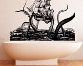 Vinyl Wall Decal Sticker Octopus Attack 5345m