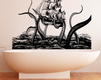 Vinyl Wall Decal Sticker Octopus Attack 5345m