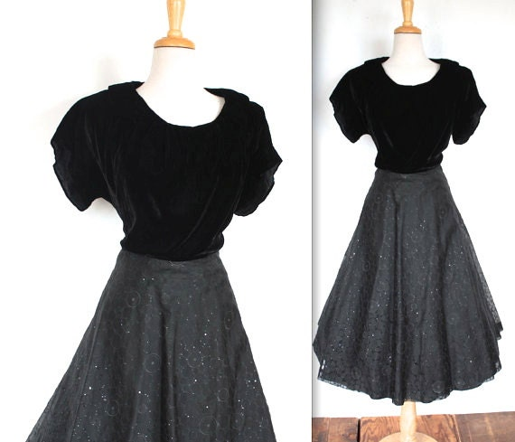 Sale vintage 1950s dress black 50 s swing skirt cocktail dress with