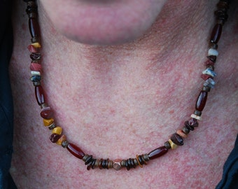 Red Raja - 21 Inch Handcrafted Gemstone Necklace - Coconut Shell, Copper, Mookaite, Red Horn & Sea Shell - SGArtCA - Tribal Chic Jewelry
