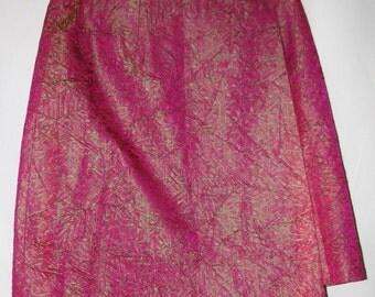 Vintage Pink & Green Shimmer Silk Wrap Around Skirt Fully Lined Size Sm-Med