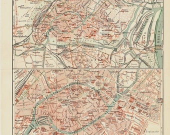 1892 Victorian STRASBURG city map. Germany. Old lithograph print.