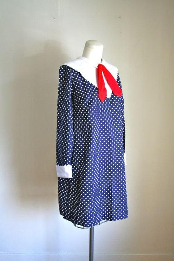 vintage 60s sailor dress - MOD MADELINE polka dot dress / S-M