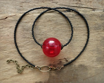 Red Bubble Necklace, black and red glass sphere necklace on seed bead chain, unique modern cherry red statement jewelry