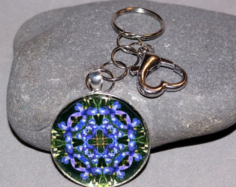 Blue Iris Purse Charm Keychain Boho Chic Chakra Mandala New Age Sacred Geometry Hippie Kaleidoscope Unique Gift For Her Cerulean Credence